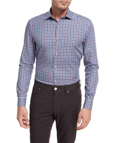 Ermenegildo Zegna Shadow Plaid Cotton Sport Shirt,