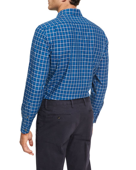 Shadow-Plaid Cotton Shirt, Medium Blue