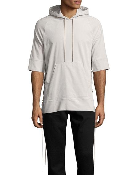 Side-Lace 1/2-Sleeve Pullover Hoodie, Beige