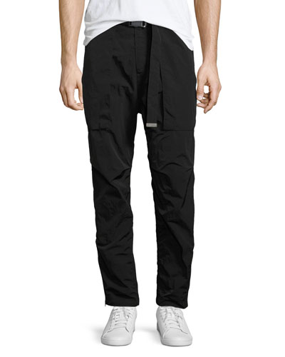 Belted Nylon Trousers, Black