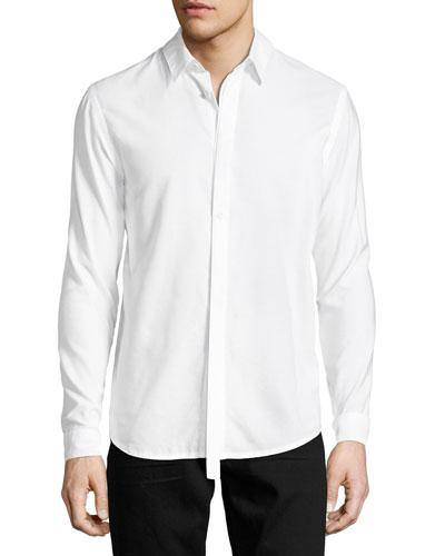 Detached-Placket Micromodal-Cotton Shirt, White