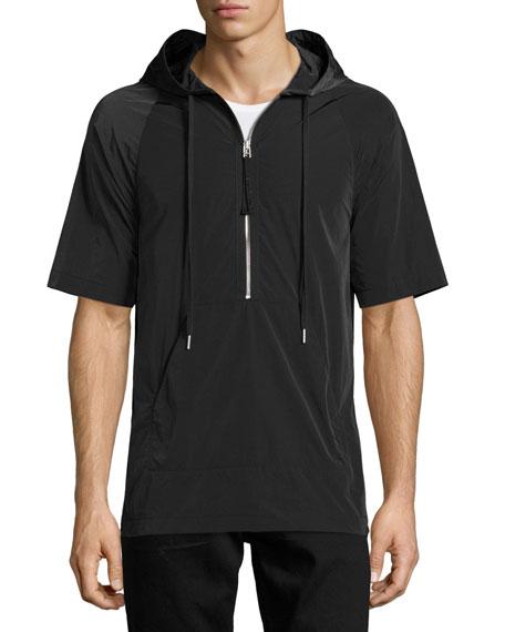 Side-Zip Short-Sleeve Nylon Hoodie, Black