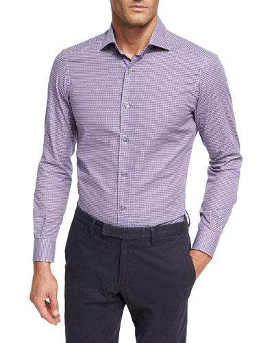 Mini-Check Cotton Shirt, Medium Purple