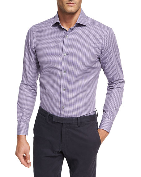 Mini-Check Cotton Shirt, Medium Purple