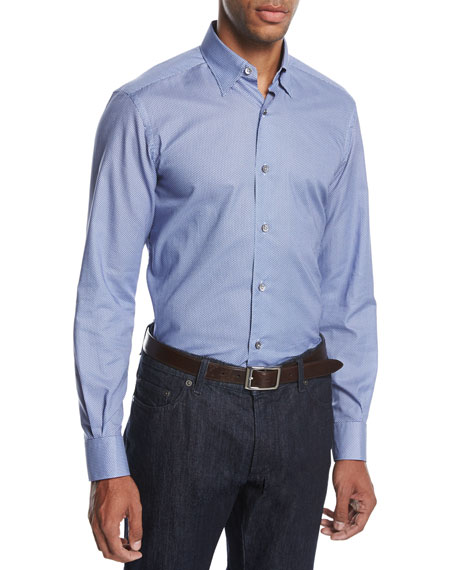 Neat Pyramid Cotton Shirt, Bright Blue/Light Blue