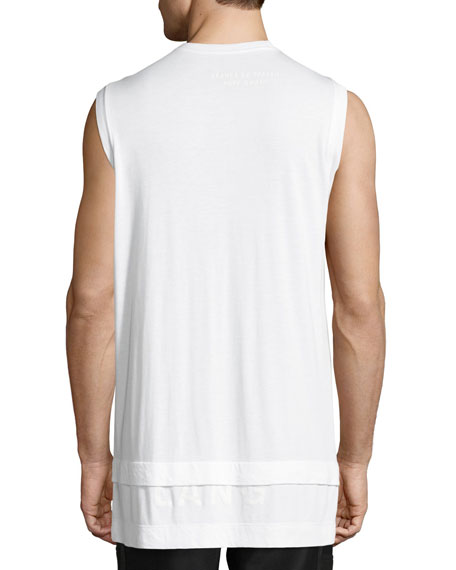 Double-Layer Logo Muscle Tank, White