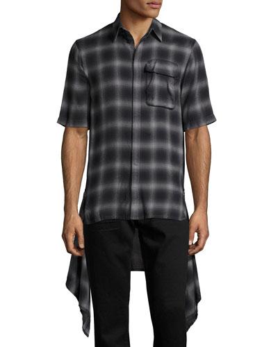 Zip-Panel Plaid Short-Sleeve Shirt, Black