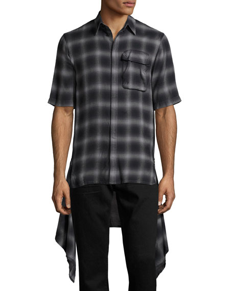 Zip-Panel Plaid Short-Sleeve Shirt, Black