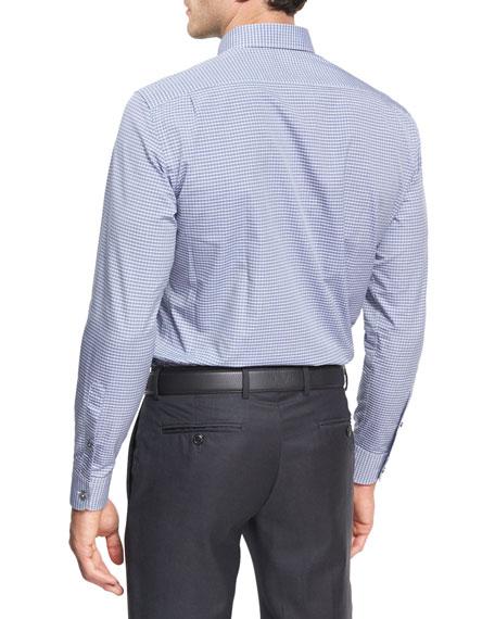 Check Cotton Dress Shirt, Medium Gray/White/Navy