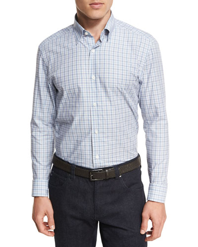 Broken-Plaid Cotton Shirt
