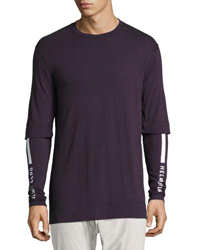 Double-Sleeve Logo-Print T-Shirt, Fig