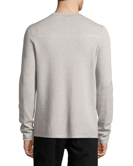 Mixed-Knit Long-Sleeve Crewneck T-Shirt, Gray