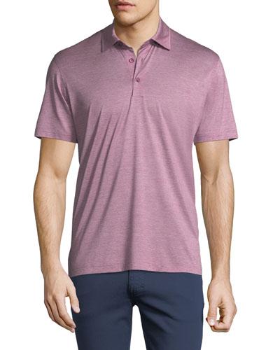 Fine-Stripe Cotton Polo Shirt