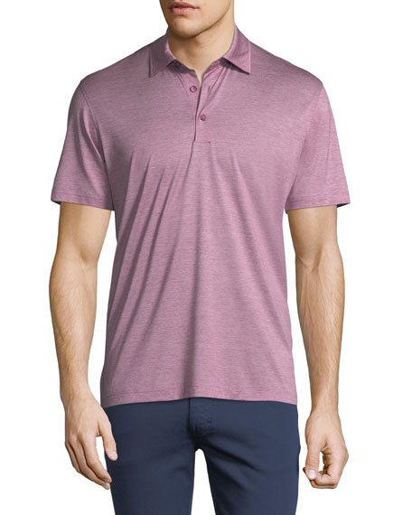 Fine-Stripe Cotton Polo Shirt