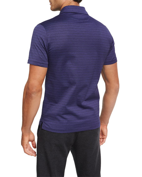 Striped Cotton Polo Shirt, Purple/Black