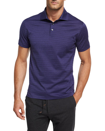 Striped Cotton Polo Shirt, Purple/Black