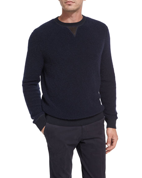 Boucle Cashmere-Silk Leather-Trim Pullover, Navy
