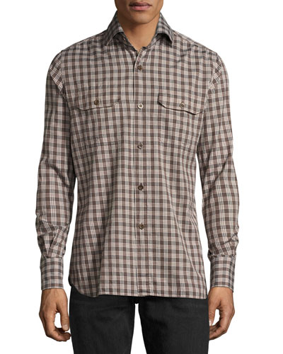 Check Cotton Military Shirt, Brown