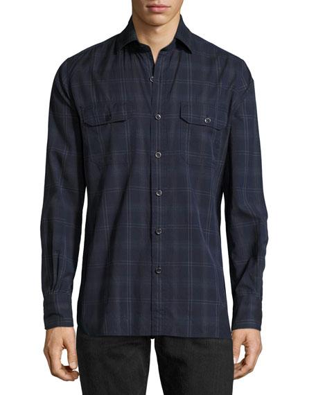 Plaid Cotton Military Shirt, Navy