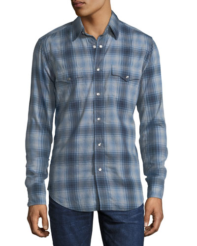 Prince of Wales Plaid Western Shirt