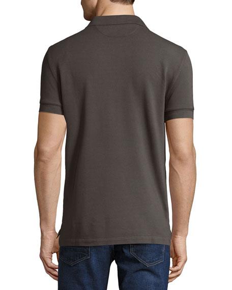 Tennis Pique Polo Shirt, Gray-Green