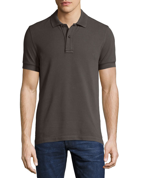 Tennis Pique Polo Shirt, Gray-Green