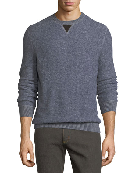 Boucle Pullover Sweater with Leather V Detail