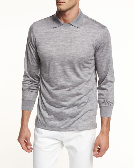 High-Performance Wool Jersey Polo-Collar Pullover
