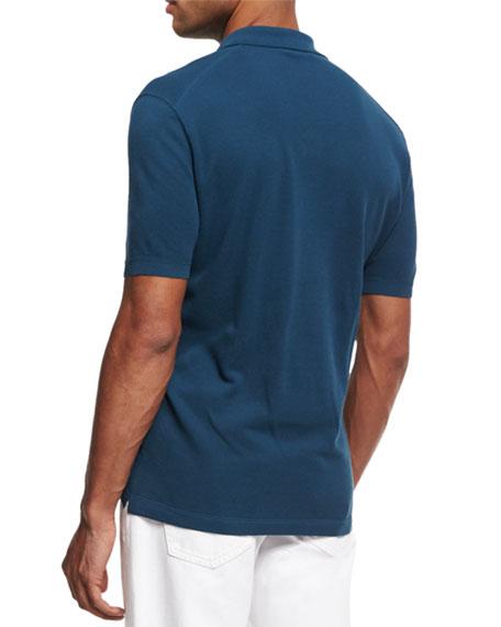 Cotton Pique Polo Shirt, Teal Blue