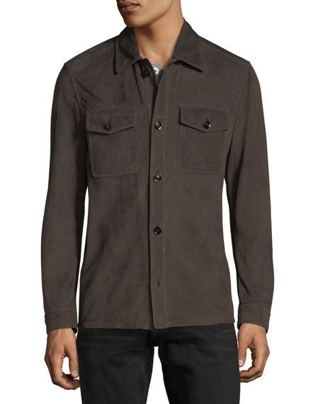 Lightweight Suede Shirt Jacket