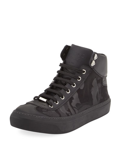 Argyle Men's Camouflage High-Top Sneaker, Black