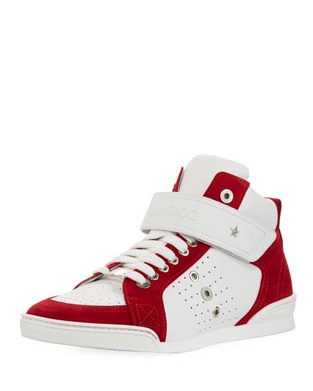 Jimmy Choo Lewis Suede & Leather High-Top Sneaker,