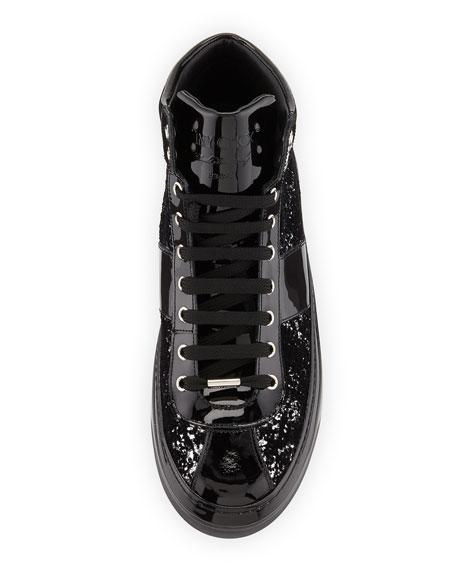 Belgravia Men's Glitter High-Top Sneakers, Black/Silver