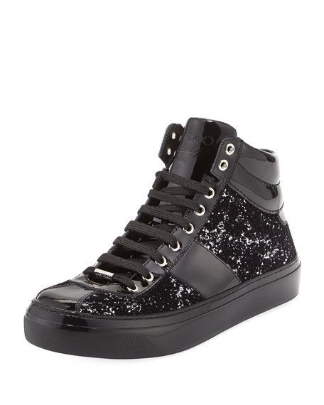 Belgravia Men's Glitter High-Top Sneakers, Black/Silver