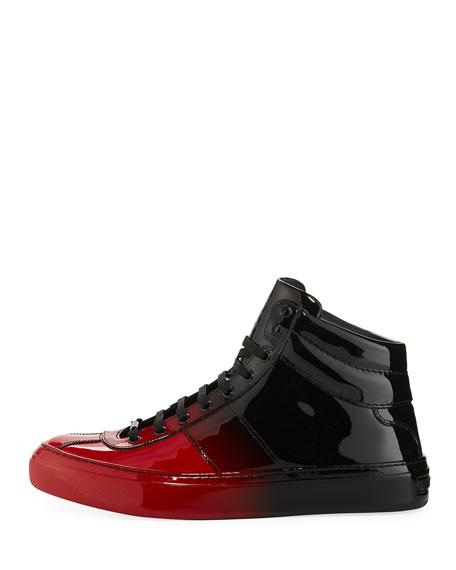 Belgravia Men's Dégradé Patent Leather High-Top Sneaker, Red/Black