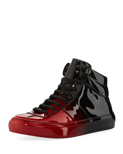 Belgravia Men's Dégradé Patent Leather High-Top Sneaker, Red/Black