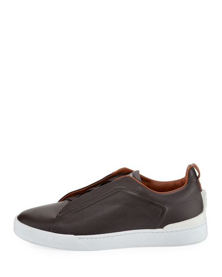 Couture Triple-Stitch Leather Low-Top Sneaker, Espresso