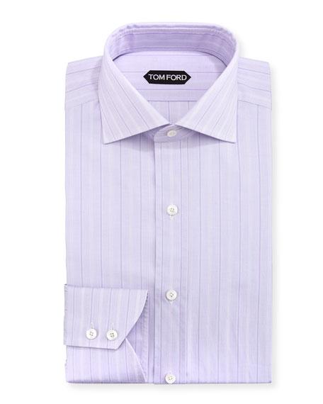 Wide Track-Stripe Cotton Dress Shirt, Lavender
