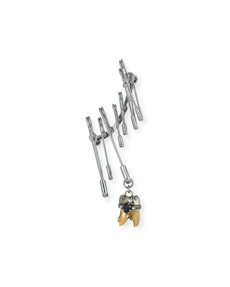 Men's Single Safety Pin Earring w/ Tooth Dangle