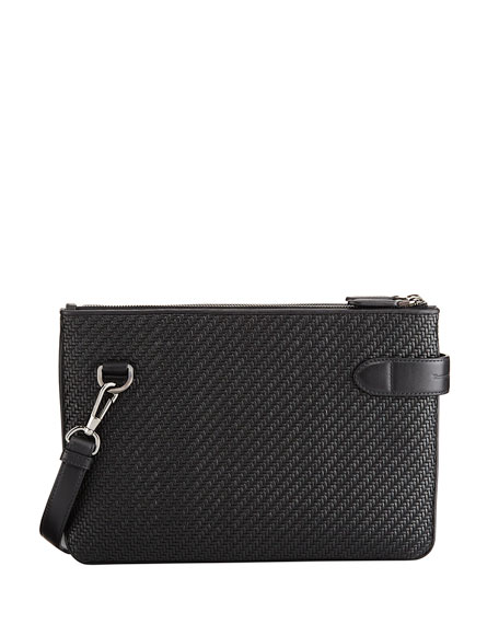 Ermenegildo Zegna Pelle Tessuta Leather Double Crossbody Bag