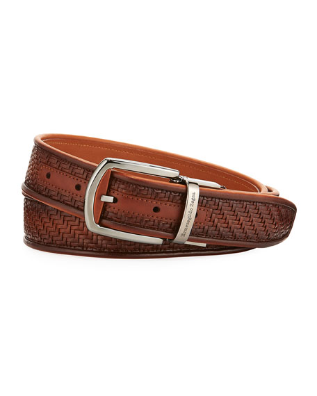 Ermenegildo Zegna Reversible Pelle Tessuta Leather Belt, Light
