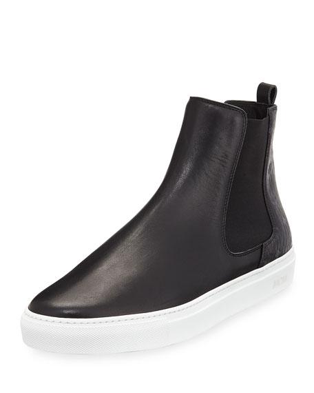 MCM Visetos & Leather Chelsea Boot