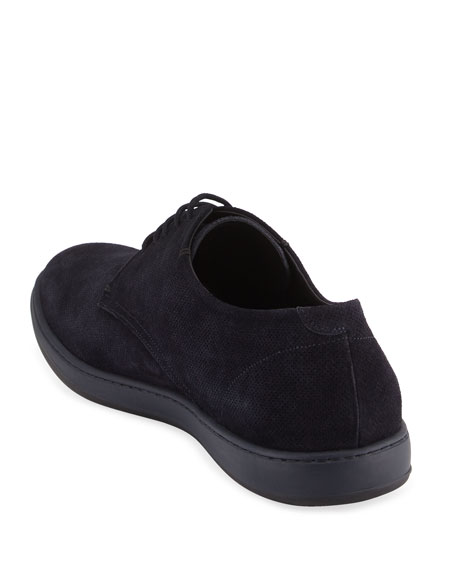 Perforated Suede Sport Derby, Navy