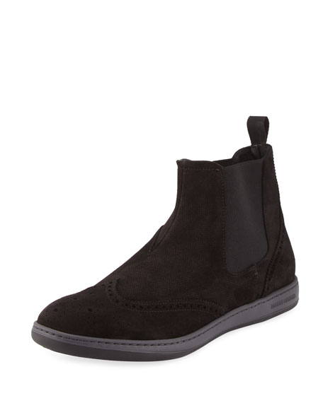 Perforated Suede Brogue Chelsea Boot, Gray