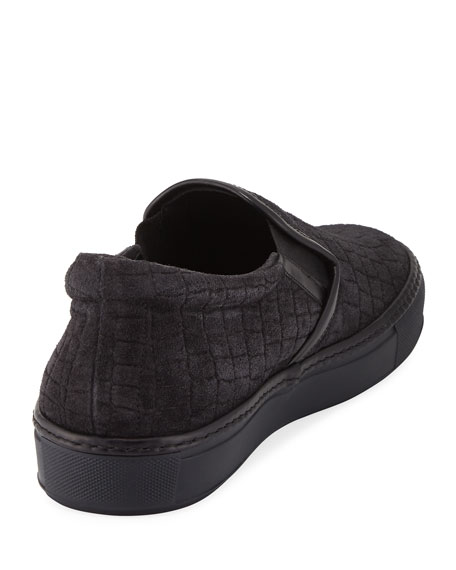 Croc-Embossed Suede Slip-On Sneaker, Gray