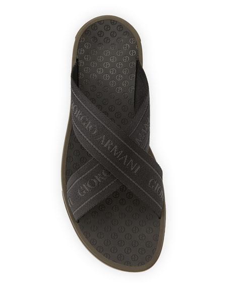 Logo Jacquard Thong Sandal, Black/Brown