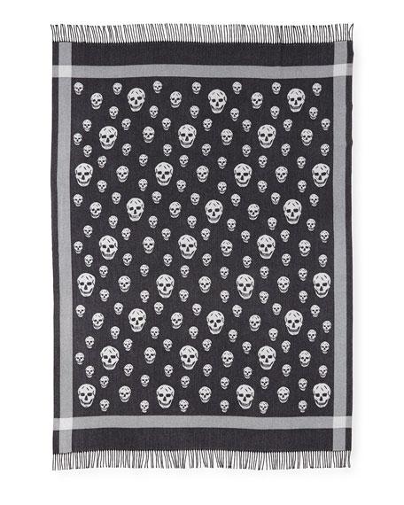 Large Skull Wool-Cashmere Shawl
