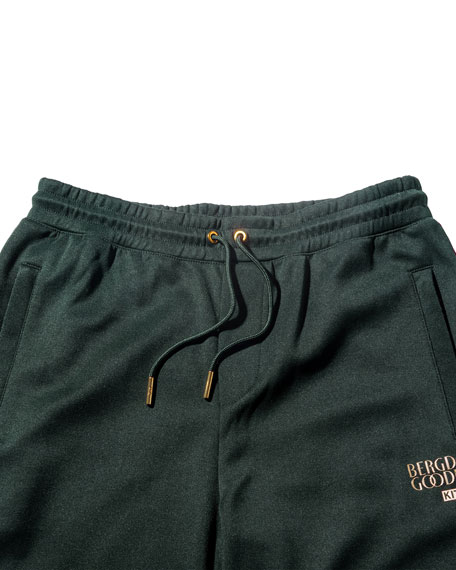 Embroidered Drawstring Shorts, Green