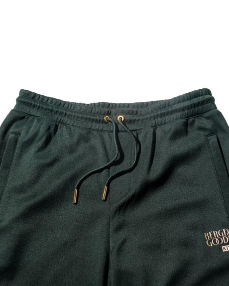 Embroidered Drawstring Shorts, Green