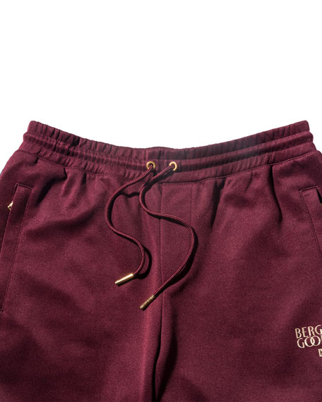 Embroidered Drawstring Shorts, Burgundy